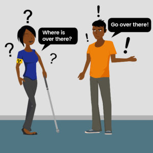 Lady with a white cane asking a man for directions and he says over there, she replies where is over there? Our Visual Impairment Awareness Training addresses this common mistake.