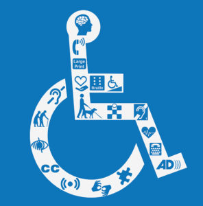 Disability symbol of stick man in wheelchair. Symbol has other icons as part of the chair that represent other disabilities.