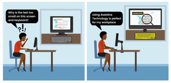 Graphic of woman using assistive technology at work to improve accessibility