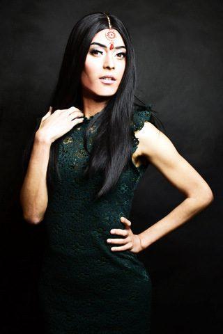 Female model in a black dress