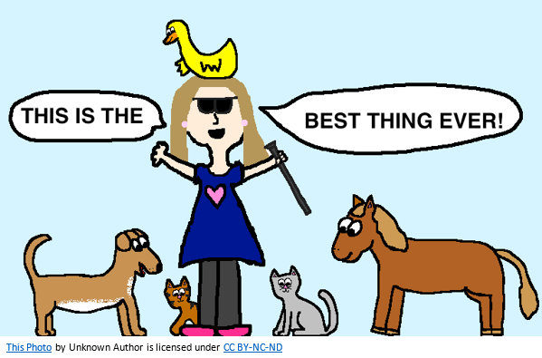 """Fun cartoon of blind girl saying """"This is the best thing ever!"""""""