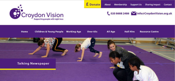 photo taken from Croydon Vision's website showing children exercising and having fun