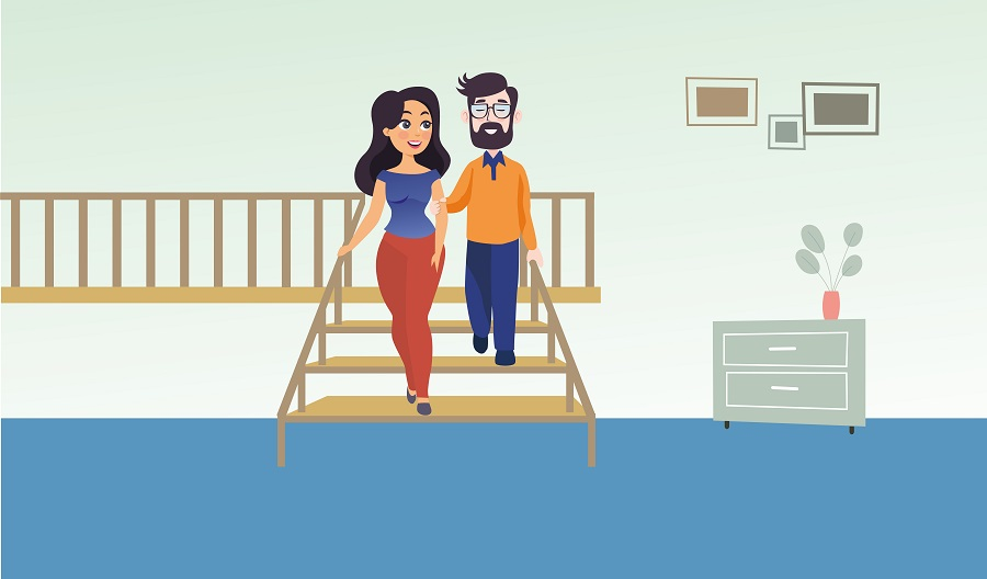 Graphic of a woman guiding a man down stairs as part of awareness training
